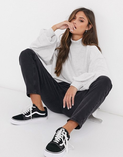 ASOS DESIGN oversized lightweight sweatshirt with high neck and seam detail in white marl in white