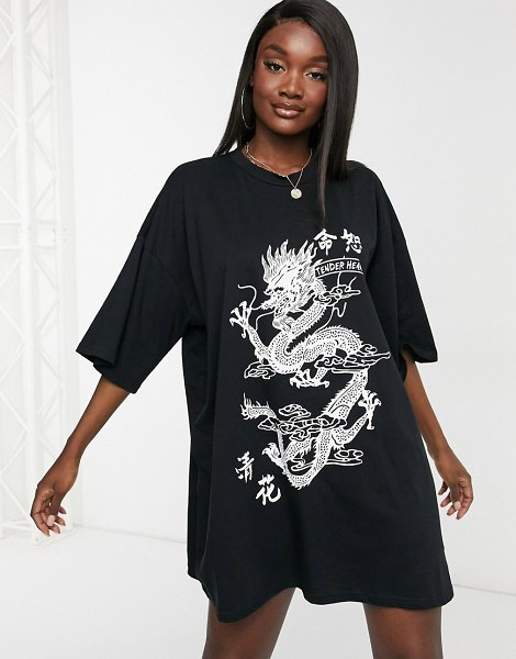 ASOS DESIGN oversized t-shirt dress with dragon graphic in black in black