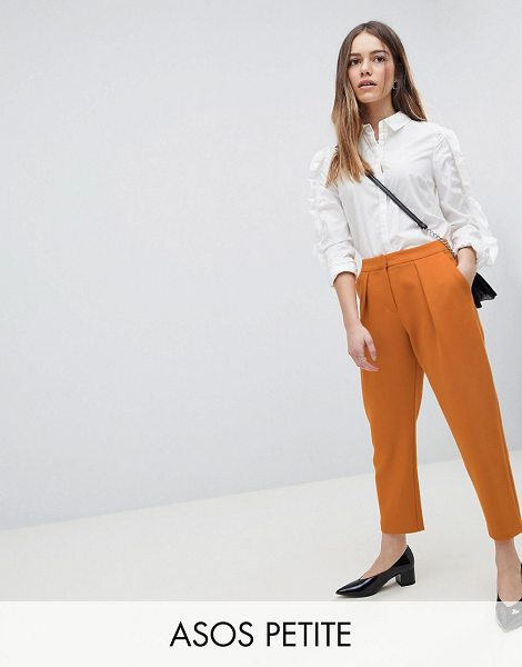 ASOS DESIGN petite tailored tapered peg pants in mustard - Petite pants by ASOS DESIGN, Suitable for life in (or...
