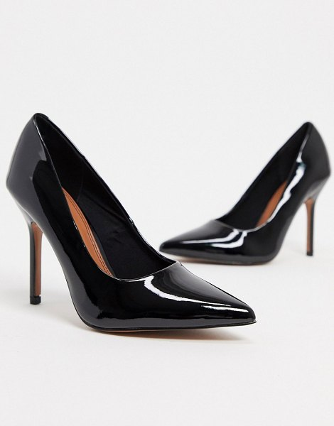 ASOS DESIGN phoenix pointed high heeled pumps in black patent in black