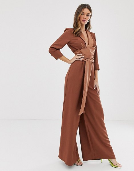 ASOS DESIGN plunge tux jumpsuit with wide leg-brown in brown