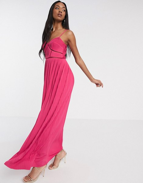 ASOS DESIGN premium cami pleated maxi dress with ladder trim detail in pink in pink