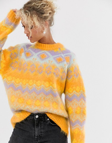 ASOS DESIGN premium oversized brushed fairisle sweater-multi in multi
