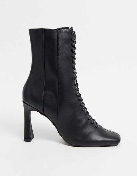 ASOS DESIGN real talk lace up boots in black in black