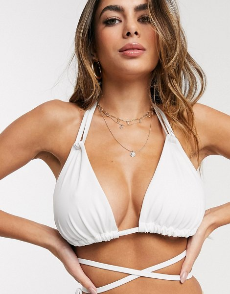 ASOS DESIGN recycled fuller bust mix and match sleek triangle multiway bikini top in white dd-g in white