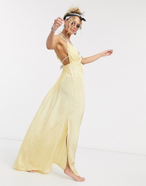 ASOS DESIGN rope detail v front beach maxi dress in golden yellow in yellow