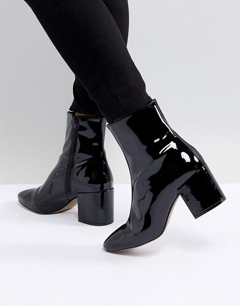 183ba6b532e ASOS DESIGN rosana leather block heeled boots in blackpatent - Boots by ASOS  DESIGN