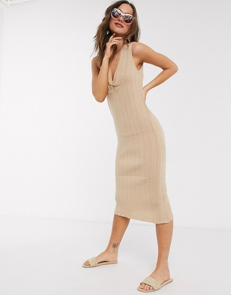 ASOS DESIGN ruched front knitted midi dress-stone in stone