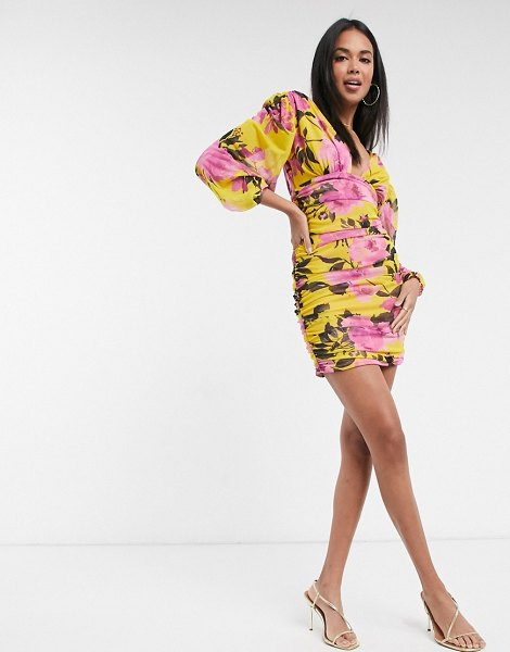 ASOS DESIGN ruched mesh long sleeve mini dress in bright floral print-multi in multi