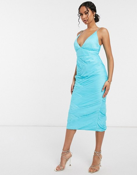 ASOS DESIGN ruched paneled cami midi dress-blue in blue