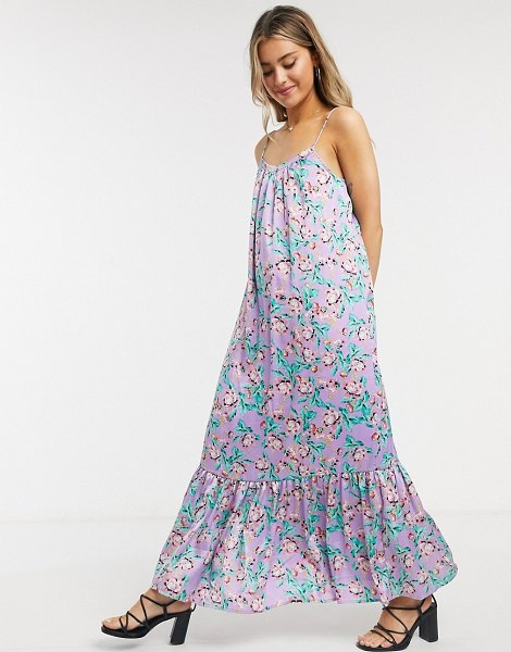 ASOS DESIGN satin cami trapeze maxi dress with pep hem in lilac based floral-multi in multi