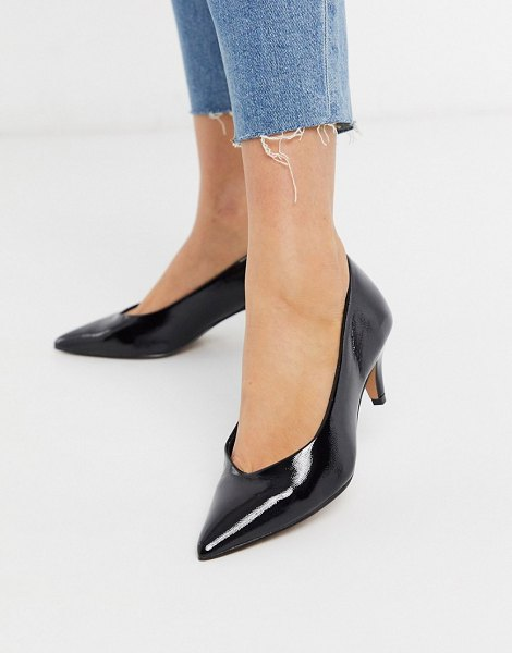 ASOS DESIGN sensation kitten heel pumps in black patent in black