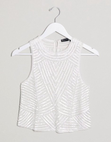 ASOS DESIGN sequin top with geo pattern in white in white