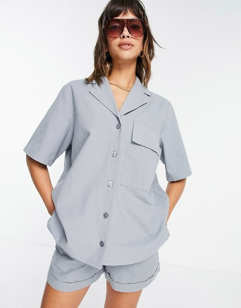 ASOS DESIGN set bowling shirt in washed duck egg blue-blues in blues