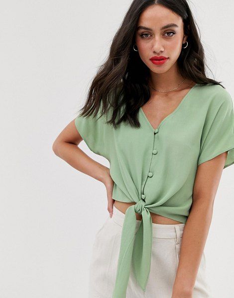 ASOS DESIGN short sleeve button front top with tie detail in olive