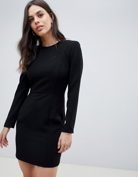 ASOS DESIGN shoulder pad mini dress with seams in black - Dress by ASOS Collection, Round neck, Padded shoulders,...