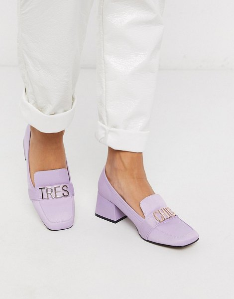 ASOS DESIGN simba mid-heeled loafers in purple in purple
