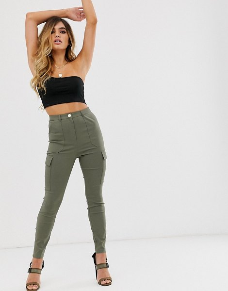 ASOS DESIGN skinny fit pants with pocket detail-green in green