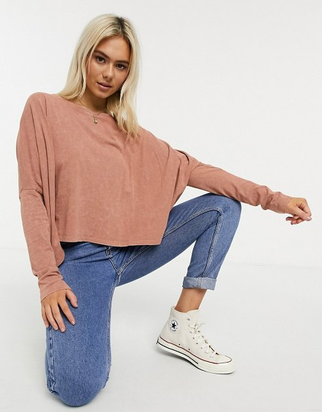 ASOS DESIGN slouchy top with batwing sleeve in washed rust-orange in orange