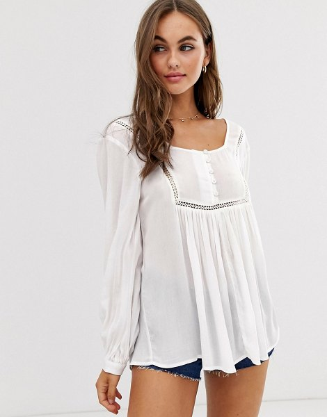 ASOS DESIGN smock top with button front detail in crinkle-white in white