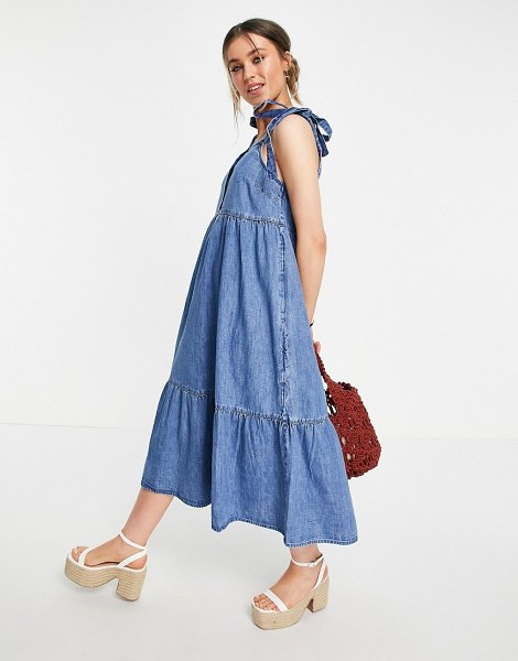 ASOS DESIGN soft denim tiered midi dress in midwash-blues in blues