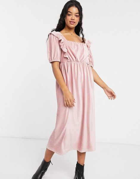 ASOS DESIGN square neck cord midi dress in pink in pink