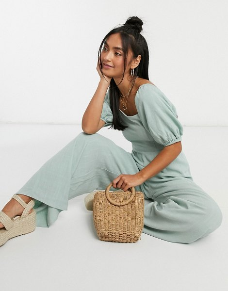 ASOS DESIGN square neck linen jumpsuit with tie back detail in sage green in green