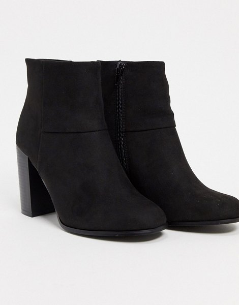 ASOS DESIGN stack-heeled ankle boots in black in black
