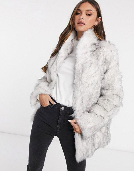 ASOS DESIGN stand faux fur collar coat in white-gray in gray