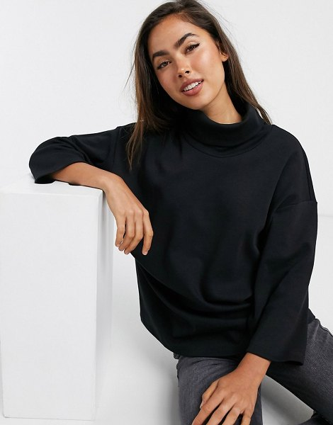 ASOS DESIGN structured oversized top with high neck in black in black