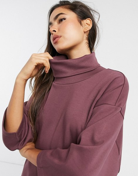 ASOS DESIGN structured oversized top with high neck in brown in brown
