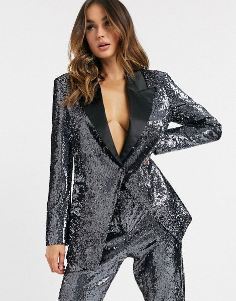 ASOS DESIGN suit blazer in silver sequin and contrast collar in silver