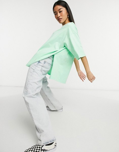 ASOS DESIGN super oversized t-shirt with side slits in wasabi green in green