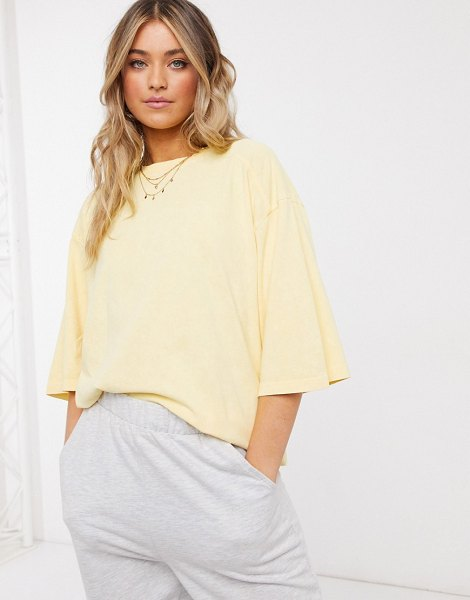 ASOS DESIGN super oversized t-shirt with stitch detail in washed straw-stone in stone