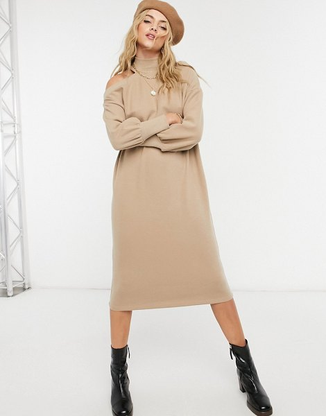 ASOS DESIGN super soft midi sweater dress with cutout shoulder in camel-brown in brown