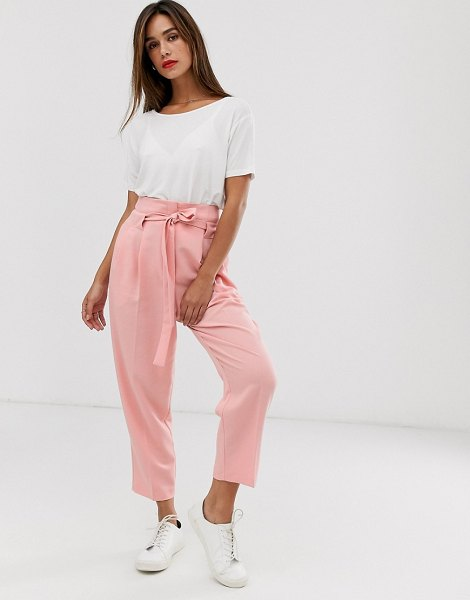 ASOS DESIGN tailored tie waist tapered ankle grazer pants-pink in pink