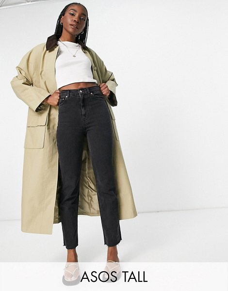 ASOS DESIGN tall cord collared boyfriend trench coat in brown in brown