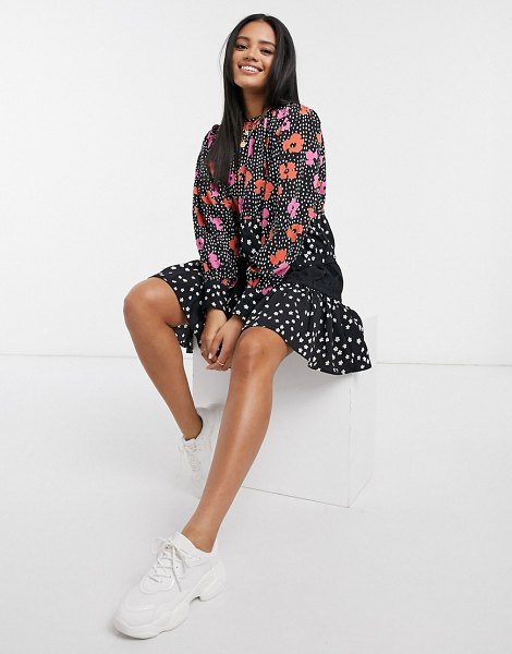 ASOS DESIGN tiered mini smock dress in mixed floral and polkadot print-multi in multi