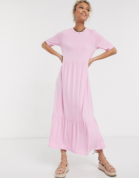 ASOS DESIGN tiered smock t-shirt midi dress in pink in pink