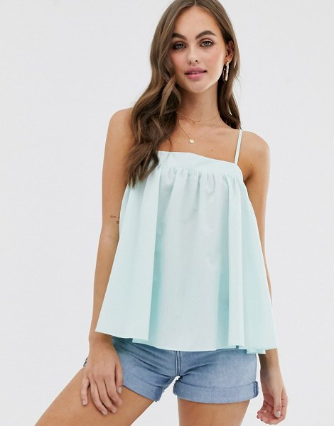 ASOS DESIGN trapeze cami in cotton in mint