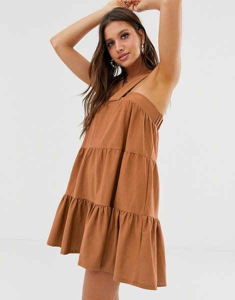 ASOS DESIGN twist front mini trapeze sundress-brown in brown