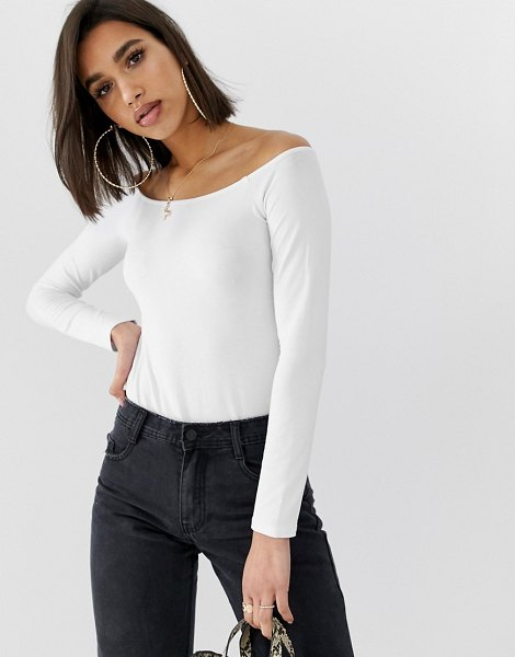 ASOS DESIGN ultimate off shoulder long sleeve top in white in white