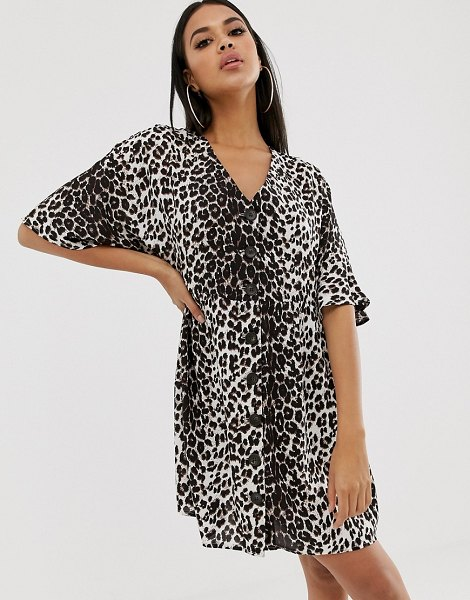 ASOS DESIGN v neck button through mini smock dress in leopard print in leopardprint