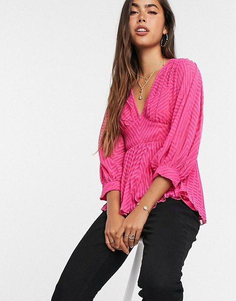 ASOS DESIGN v neck top with pleat detail in sheer chevron in pink in pink