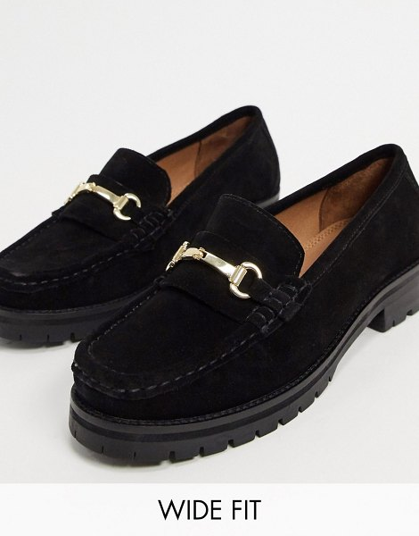 ASOS DESIGN wide-fit motivate suede chunky loafers in black in black