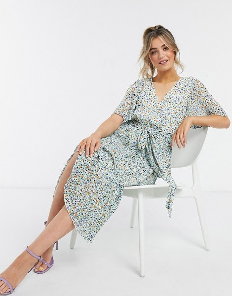 ASOS DESIGN wrap front tiered pleated midi dress in playful floral print-multi in multi