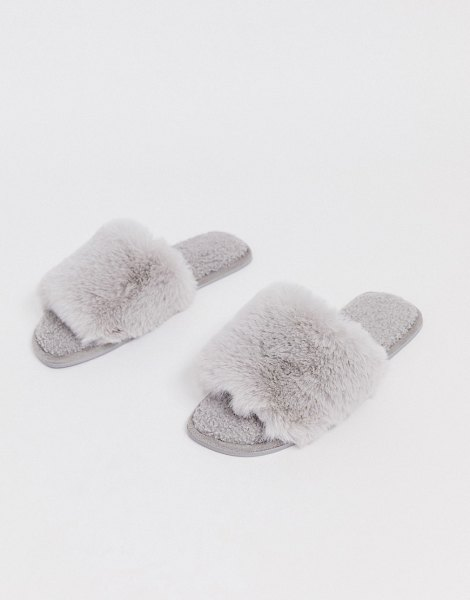 ASOS DESIGN zen borg fur slippers in pale gray in gray