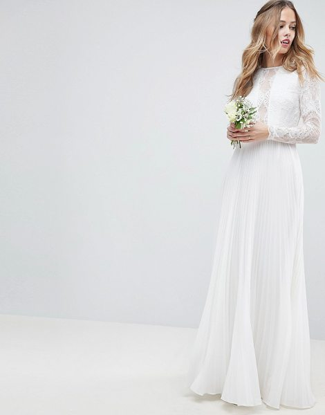 4dcfe41293d ASOS Edition long sleeve lace bodice maxi wedding dress with pleated skirt  in cream - Maxi