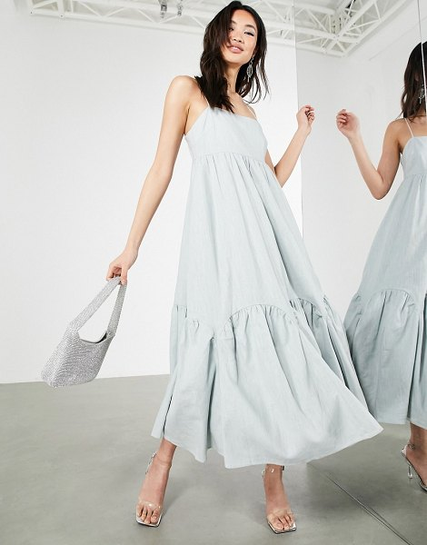 ASOS Edition linen tiered cami dress with scallop hem in ice blue-blues in blues