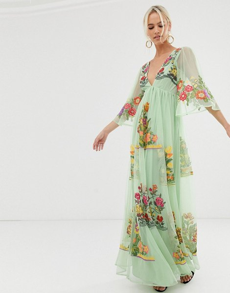 ASOS Edition v neck flutter sleeve embroidered maxi dress-multi in multi
